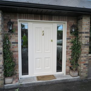 Palermo Cream Solid Front Door In Bog Oak
