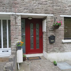 Red San Marco Front Door With Silver Doorknocker & Decorative Glass Unit