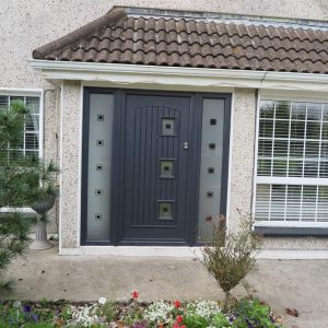 Dark Grey Paris Composite Front Door With Frosted Design Glass & Black Square Accents