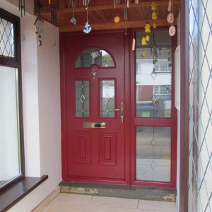 Red Sunbeam 2 Composite Front Door With Gold Letterbox & Satinised Glass Design