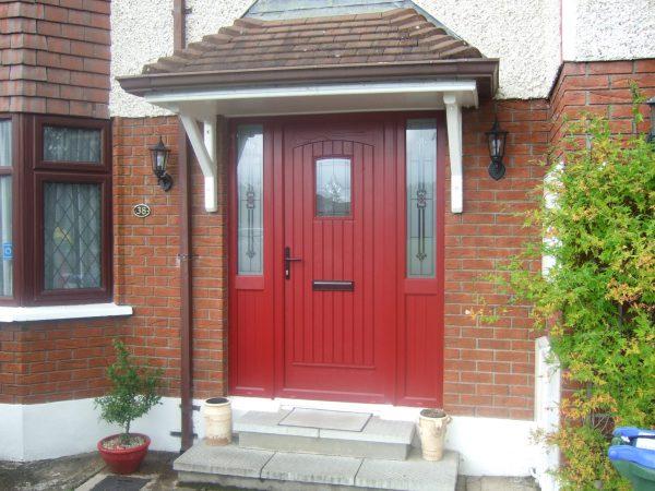 T & G Solid Composite Red Front Door