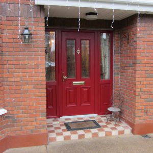 GPalermo Composite Front Door In Red With Resin glass Design & Red Accents