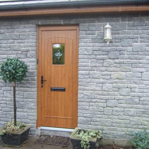 T & G Solid Composite Light Oak Front Door