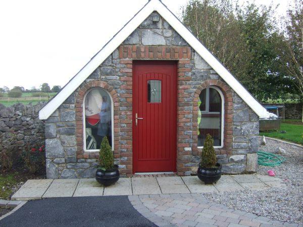 T & G Red Solid Composite Front Door