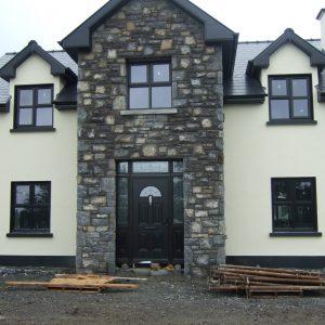 Bog Oak Sunbeam 1 Composite Front Door With Satinised Glass Design & Black Handle
