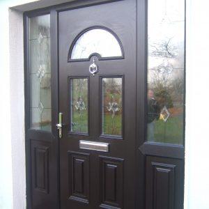 Bog Oak Sunbeam 2 Composite Front Door With Satinised Glass Design