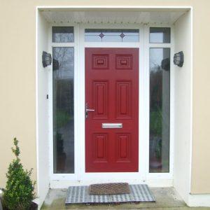 Red Georgian Solid Door In White Frame